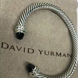 David Yurman Black Onyx & Diamond Bracelet Cuff